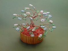 Bonsai Wire Tree Sculpture Beaded Flowers by sinisaart