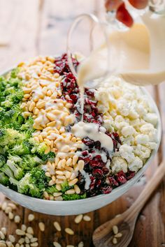 This broccoli cauliflower salad only has 7 ingredients (including dressing!). Delicious winter salad and can be made in advance - it's perfect for parties!