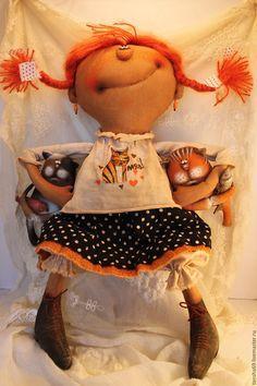 Купить Дружочки! - разноцветный, текстильная кукла, ароматизированная кукла, интерьерная кукла, коты, ткань, синтепух