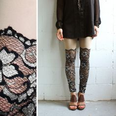 Psych Out Faux Thigh High Leggings - Black & Silver Lace - XS or M