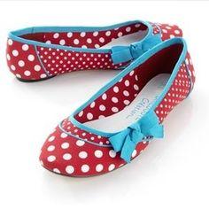 c74443ecece3c4 red polka dot flats with aqua bows
