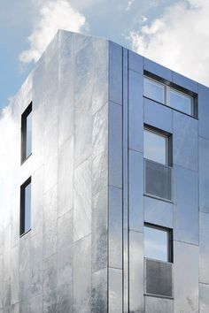 Residential buildings Tappvägen Design, fabrication, delivery and installation of facade cladding. Facade cladding of hot – dip galvanized steel panels Facade Architecture, Contemporary Architecture, Aluminium Facade, Steel Cladding, Steel Panels, Exterior Cladding, Building Facade, Metal Buildings, Decoration Design