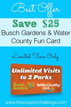 Busch Gardens Williamsburg Fun Card Discount - Save $25 on a 2-Park Unlimited Admission. For a limited time, get a fun card valid at Busch Gardens AND Water Country USA for only $75! This is the price of a one-day admission!!!