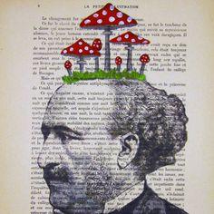 Thinking of mushroom- ORIGINAL ARTWORK Hand Painted Mixed Media on 1920 famous Parisien Magazine 'La Petit Illustration'. $12.00, via Etsy.