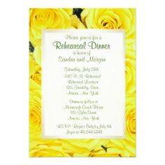 Yellow Rose Wedding Rehearsal Dinner Custom Invite