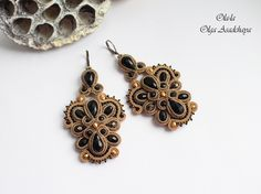 """earrings """"date - the black bronze"""" soutache, crystal and glass beads, Japanese beads"""