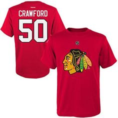 6d6865881 Chicago Blackhawks Youth Corey Crawford 50 NHL T-Shirt - Red Screen-printed  logo on front with name and number on back Ribbed crewneck collar Look and  feel ...