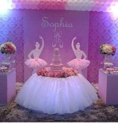 beautiful ballerina decor - First Birthday Party Decor - meadoria Ballerina Birthday Parties, Princess Birthday, Princess Party, Girl Birthday, Girl Baby Shower Decorations, Birthday Party Decorations, Party Themes, Party Ideas, Ballerina Baby Showers