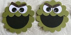 "KBPapercraft; Oscar the Grouch: head - 1 3/4"" scallop circle in old olive, then I punched a second scallop circle after first punching the edge with the scallop border punch (to make a straight across mouth, rather than smiling) eyes - 1/2"" circle in white, 1/4"" circle in black eyebrows - horizontal slot (retired) in early espresso"