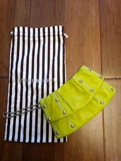 Henri Bendel lime leather studded clutch w/ dust bag #clutch #color #henri-bendel #leather #lime