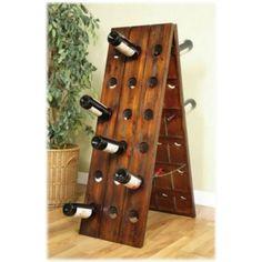 French Riddling Rack standing on Floor for Wine bottles display wooden