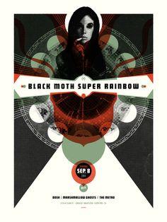 Black Moth Super Rainbow Chicago Metro screen print poster