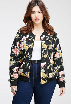Plus Size Quilted Floral Bomber Jacket