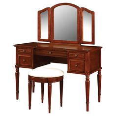 Woodland Vanity Mirror and Bench Cherry - Powell Company, Brown