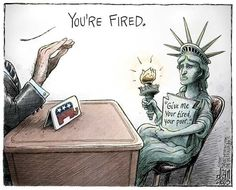 This political cartoon makes a visual pun employing the famous Trump catch phrase and combining with the defeated icon of the United States. The cartoon states Trump is in direct opposition to core American ideals. Donald Trump, Caricatures, Liberty Statue, Entertainment, Political Cartoons, Political Satire, Election Cartoons, Trump Cartoons, Illustrations