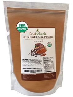 Best Cocoa Powder by FineNaturals Unsweetened Dark Chocolate Raw Organic Cacao Includes FREE EBOOK with Recipes  Tips Perfect for Your Delicious Drinks Desserts and Baking *** Learn more by visiting the image link.