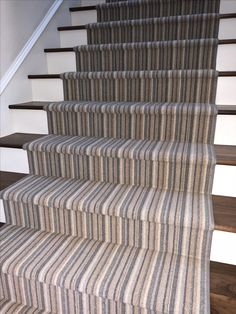 Stripe wool carpet fabricated into a stair runner for a client in Newport Beach, CA