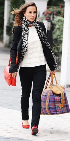 Love how Pippa Middleton styles this rufflefront shirt! I have one but was always unsure how to pair it with things without looking to young. The blazer really matures it! #NeedBlackBlazer