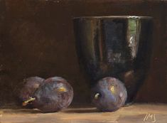 Blue plums with black bowl ~ Julian Merrow-Smith