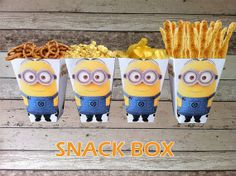 INSTANT DOWNLOAD Minion Printable Birthday Popcorn/ Snack Box, Digital Pdf File Minion Party Theme on Etsy, $3.61 AUD