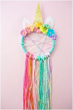 DIY Unicorn Dreamcatcher #unicornparty #unicorncrafts #unicornio #diyunicorn #unicorn #dreamcatcher