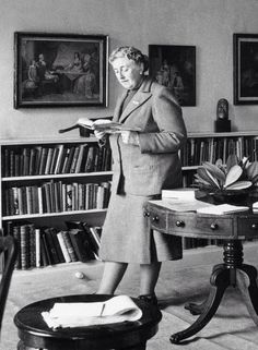 Agatha Christie in her home.