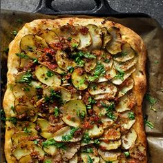Moroccan spiced potato pizza featuring a quick and basic pizza dough from Lahey.
