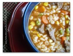 Alphabet beef vegetable soup