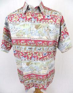 Reyn Spooner Hawaiian Shirt Large Reverse Print Native Fishing Tiki Hut Aloha #ReynSpooner #Hawaiian