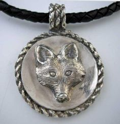 Large Fox Coin Pendant Necklace with Braided Edge Equestrian Jewelry, Horse Jewelry, Animal Jewelry, Fox Ring, Coin Pendant Necklace, Fashion Bracelets, Sterling Silver Chains, Jewelry Necklaces, Leather Cord