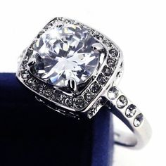 Size5/6/7/9  Platinum Plated Princess Cut CZ Ring. Starting at $1 on Tophatter.com!