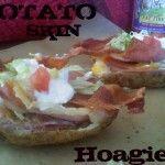 "A open-faced hoagie with crispy potato sking ""buns"""