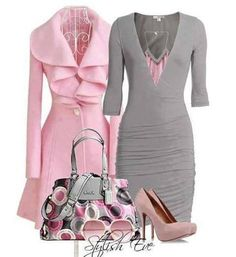 Gray and light pink outfit. Beautiful dress and coat.