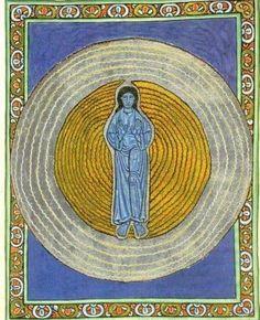 """Illustration by Hildegarda de Bingen from her book """"Scivias"""", Ancient Art, Illustration Art, Bingen, Painting, Medieval Art, Art History, Mandala, Illuminated Manuscript, Art"""