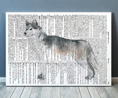 Lovely Wolf print. Beautiful Wildlife art for your home and office. Cute Dictionary poster. Nice contemporary Watercolor print.    SIZES: A4 (8.3 x