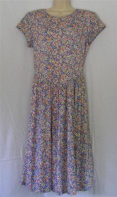d7d794456b4c Vintage Carol Anderson Floral Print Cross Back Casual Summer Dress Size 10  #CarolAnderson #Sundress