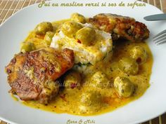 Pui cu masline verzi si sos de sofran ~ Culorile din farfurie Romanian Food, Tandoori Chicken, Soul Food, Carne, Food To Make, Meat, Cooking, Ethnic Recipes, Kitchens