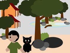 "Oland menghentikan langkahnya lalu melihat ke belakang. Di rumahnya sedang tidak ada orang, Ayah belum pulang kerja dan Ibu sedang pergi bersama teman-temannya. Dia teringat larangan ibunya, lalu memutuskan kembali ke rumah. Namun Oland mendengar suara kucing hitam. ""Meooong,"" seru kucing hitam yang sudah ada di belakangnya."