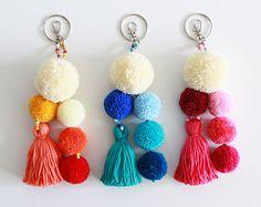 Tassel keychain Pom pom bag charm Purse charm Pom pom handbag