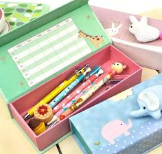 Rise and shine! It's time for school. Don't forget your Good Morning Little Baby Pencil Box. With the calming colors of green, periwinkle, and pink you are sure to get through your stressful school day with ease. Each case also features a plush, stuffed animal connected to the top along with a cute polka dot design. Inside you'll find bright colors and a mini six day calendar. It also has enough capacity to hold all of your favorite pencils, pens, erasers, scissors, glue sticks, and much…