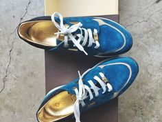 $1K LOUIS VUITTON LV TURQUOISE SUEDE & GOLD LEATHER UNISEX SNEAKER SHOES 39 #LouisVuitton #SNEAKER #WalkingHiking