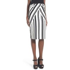J.O.A. Stripe Pencil Skirt (4.275 RUB) ❤ liked on Polyvore featuring skirts, white pencil skirt, mid calf pencil skirt, white knee length pencil skirt, white striped skirt and striped pencil skirt