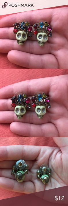 Super unique sugar skull earrings  Purchased from Disney World. Adorable pale green skulls with colored gems and bronze details. Absolutely LOVED these but downsizing due to moving! Will come sanitized ✨ Jewelry Earrings