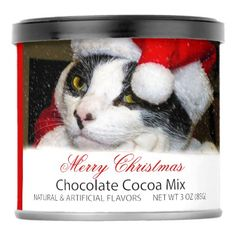 #Christmas /Holiday Cat in X-Mas Hat Chocolate Mix - #Xmas #ChristmasEve Christmas Eve #Christmas #merry #xmas #family #kids #gifts #holidays #Santa