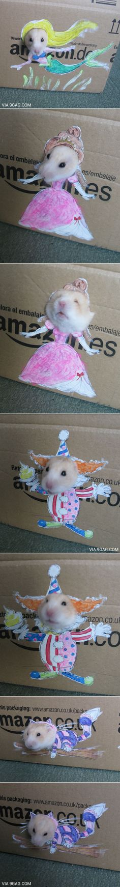 Daughter wanted to dress up her hamster in dolly clothes; Mom helped her with some boxes.-This is only kind of amazing :)