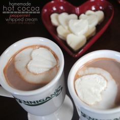 Homemade Hot Cocoa recipe with homemade frozen peppermint whipped cream hearts