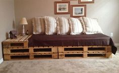 If you can't afford expensive sofa's, then consider having a pallet sofa in your house. You can make a pallet sofa by yourself or purchase it for less cost. There are several benefits of pallet sofa. Indoor Furniture Design, Sofa Furniture, Furniture Plans, Wooden Furniture, Furniture Projects, System Furniture, Trendy Furniture, Victorian Furniture, Primitive Furniture