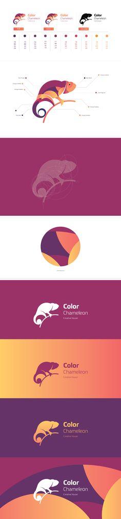 Color Chameleon Brand on Behance Graphic Design Branding, Label Design, Identity Design, Logo Design, Brand Identity, Sweet Logo, Logo Sketches, Chameleon Color, Waves Logo