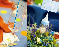 Love the flower centerpiece with the baby bottle...really cute idea!