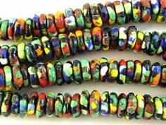 Ashanti Multi-Color Glass Disc Beads 12mm (AT7001) from Happy Mango